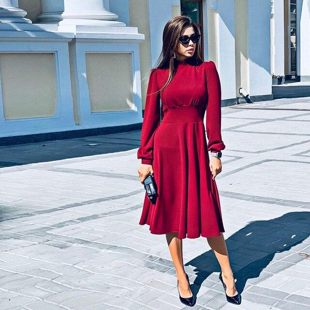 Women Vintage Sexy Slim A-line Party Dress Long Sleeve Stand Collar Solid Elegant Casual Dress 2019 Winter New Fashion Dress - SaturnLoop Shops Sales