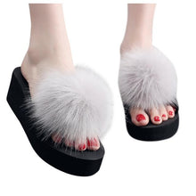 Load image into Gallery viewer, Women's Fluffy Slippers shoes woman Summer Platform Indoor&outdoor Beach Slippers Ladies' Home Slippers zapatos de mujer - SaturnLoop Shops Sales