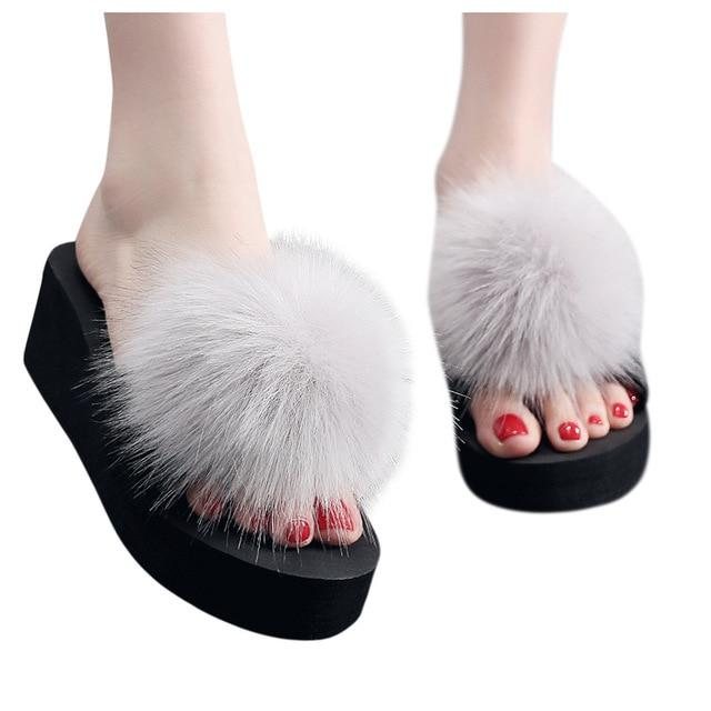Women's Fluffy Slippers shoes woman Summer Platform Indoor&outdoor Beach Slippers Ladies' Home Slippers zapatos de mujer - SaturnLoop Shops Sales