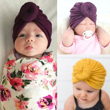 Load image into Gallery viewer, 8 Colors Infant Headbands Solid Color Cotton Kont Turban Headwear For Girls Spandx Stretchy Beanie Hat Baby Hair Accessories - SaturnLoop Shops Sales