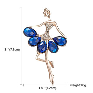 RINHOO Gymnastics Girl Flower Dancer Crystal Brooches for Women Cute Pin Bijouterie High Quality Corsage Fashion Wedding Jewelry