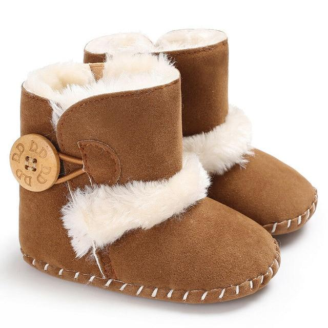 0-18M Newborn Infant Baby Girls Snow Boots Winter Warm Baby Shoes Solid Button Plush Ankle Boots - SaturnLoop Shops Sales