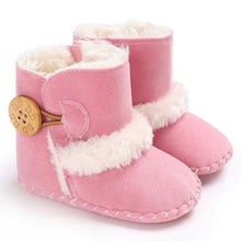 Load image into Gallery viewer, 0-18M Newborn Infant Baby Girls Snow Boots Winter Warm Baby Shoes Solid Button Plush Ankle Boots - SaturnLoop Shops Sales