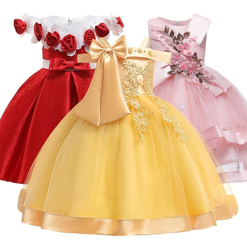 New Style Girl Wedding Party One-character Shoulder Suspender Dress Girl Bow Nail Pearl Flower Banquet Ball Dress vestidos - SaturnLoop Shops Sales