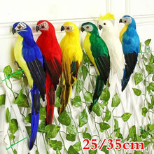 Load image into Gallery viewer, 25/35cm Handmade Simulation Parrot Creative Feather Lawn Figurine Ornament Animal Bird Garden Bird Prop Decoration Miniature - SaturnLoop Shops Sales
