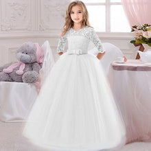 Load image into Gallery viewer, Flower Girl's Birthday Banquet Long Sleeve Lace Stitching Dress Elegant Girl's Wedding Long White Butterfly Lace Loop Dress - SaturnLoop Shops Sales