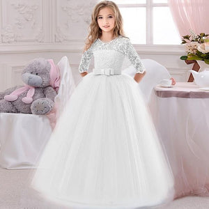 Flower Girl's Birthday Banquet Long Sleeve Lace Stitching Dress Elegant Girl's Wedding Long White Butterfly Lace Loop Dress - SaturnLoop Shops Sales
