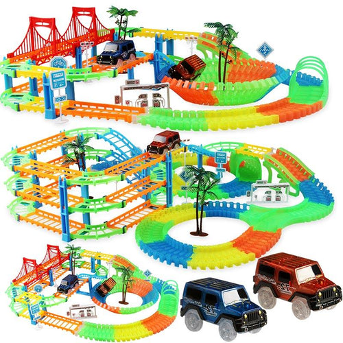 2019 Railway Magical Racing Track Play Set Educational DIY Bend Flexible Race Track Electronic Flash Light Car Toys For children - SaturnLoop Shops Sales