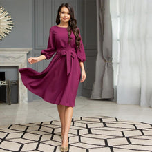 Load image into Gallery viewer, Women Vintage Sashes A-line Party Dress Three Quarter Sleeve O neck Solid Elegant Casual Dress 2020 Summer New Fashion Dress - SaturnLoop Shops Sales