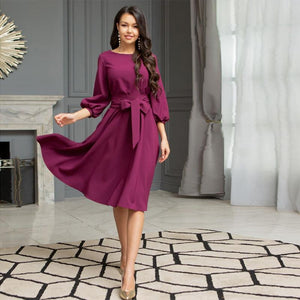 Women Vintage Sashes A-line Party Dress Three Quarter Sleeve O neck Solid Elegant Casual Dress 2020 Summer New Fashion Dress - SaturnLoop Shops Sales
