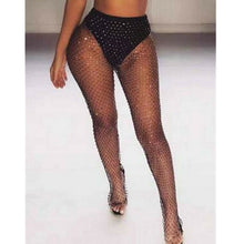 Load image into Gallery viewer, Women Bikini Bling Crystal Cover Up Tops Sexy Fishnet Hollow Out See Through Swimsuit Swimwear Tops Black White