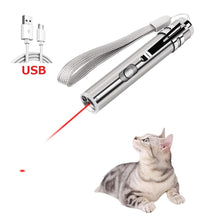 Load image into Gallery viewer, Cat Chaser Toys 2 in 1 Multi Function Funny Cats Laser Toy Interactive USB Rechargeable LED Light Pointer Exercise Training Tool - SaturnLoop Shops Sales