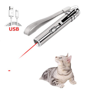 Cat Chaser Toys 2 in 1 Multi Function Funny Cats Laser Toy Interactive USB Rechargeable LED Light Pointer Exercise Training Tool - SaturnLoop Shops Sales
