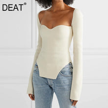 Load image into Gallery viewer, DEAT 2020 new spring and summer fashion women clothes cashmere sqaure collar full sleeves elastic high waist sexy pullover WK080