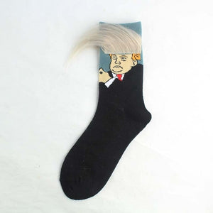 2020 Election Spoof Funny President Donald Trump Socks With 3D Fake Hair Crew Socks Mens Compression Socks Streetwear Hip Hop