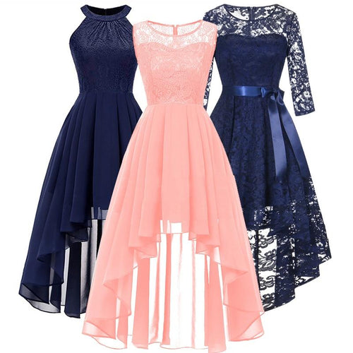 2020 wedding party dress prom gown fashion clothing Front short long back dark blue halter Bow Bridesmaid Dresses - SaturnLoop Shops Sales