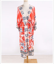 Load image into Gallery viewer, Fitshinling Oversize Beach Cover Up Kimono Vintage Print Floral Holiday Bikini Outing Boho Loose Long Cardigan 2020 Orange Coat