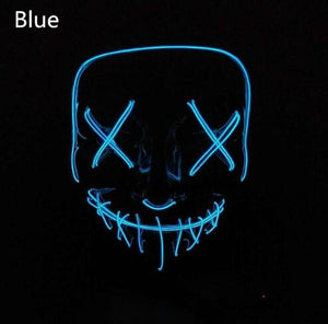 Halloween LED Glow Masks Horror Rave Mask Light up for Festival Cosplay Costume Funny Election Party Decor Purge Mask - SaturnLoop Shops Sales