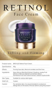 BREYLEE Retinol Firming Face Cream Lifting Neck Anti-Aging Remove Wrinkles Night Day Moisturizer Whitening Facial Skin Care 40g - SaturnLoop Shops Sales