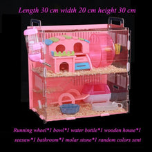 Load image into Gallery viewer, Large Size Hamster House Acrylic Small Pet Cage Transparent Oversized Villa Guinea Pig Basic Cage Toy Supplies Package Nest - SaturnLoop Shops Sales