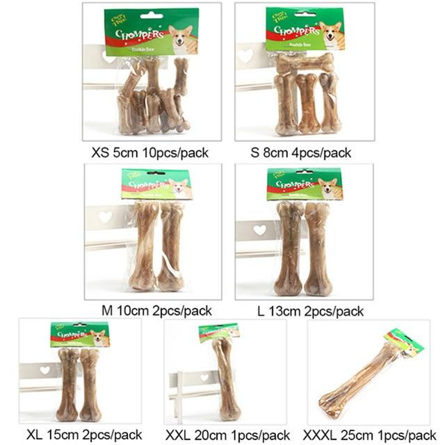 10Pcs/Lot Cowhide Bone Molar Dog Toys Teeth Clean Stick Food Treats Dogs Bones For Pet Puppy Supplies Dog Toys Accessories - SaturnLoop Shops Sales