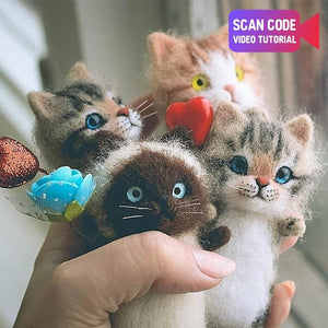 Cute and interesting handmade toys DIY wool felt cat kits unfinished plush doll poking music toy gift - SaturnLoop Shops Sales