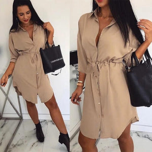 Women Casual A Line Sashes Mini Dress Solid Color Three Quarter Sleeve Front Button Elegant Sexy Women Dress Autumn Trendy Dress - SaturnLoop Shops Sales