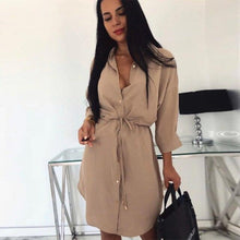 Load image into Gallery viewer, Women Casual A Line Sashes Mini Dress Solid Color Three Quarter Sleeve Front Button Elegant Sexy Women Dress Autumn Trendy Dress - SaturnLoop Shops Sales