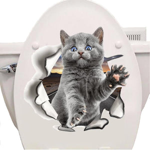 Fashion 3D Cats Toilet Stickers Lovely Animal Wall Decal Lovely Blue Cat Home Decor Art PVC Vinyl Bathroom Decoration Waterproof - SaturnLoop Shops Sales