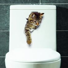 Load image into Gallery viewer, Fashion 3D Cats Toilet Stickers Lovely Animal Wall Decal Lovely Blue Cat Home Decor Art PVC Vinyl Bathroom Decoration Waterproof - SaturnLoop Shops Sales