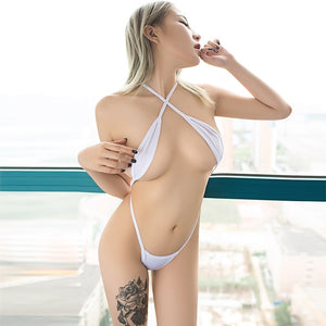 Women One Piece Swimsuit Porn Party Bodysuits Sexy Micro Bikini Perspective String Camisole Nude Expose Belly Bikinis Swimwear