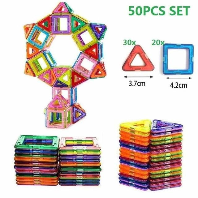100PCS/50pcsMagnetic Building Blocks Magnetic Designer Construction Set Model  Building Magnets Magnetic Blocks Educational Toy - SaturnLoop Shops Sales