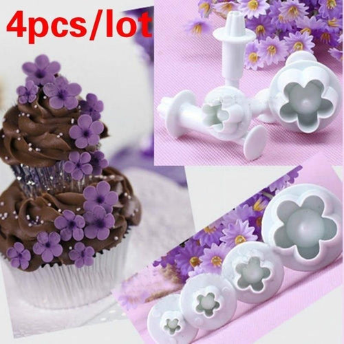 Hot Sale 4Pcs/Set Plum Flower Plunger Fondant Mold Cutter Cake tools Decorating Christmas Cake Decorating Tools - SaturnLoop Shops Sales