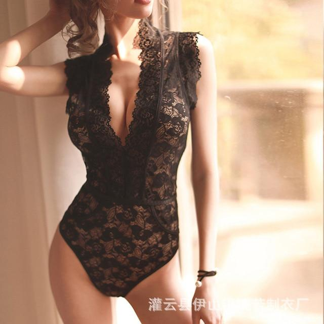 New 2020 sexy summer perspective mesh yarn female lace one-piece deep V slim Nightclub jumpsuit bodysuit - SaturnLoop Shops Sales