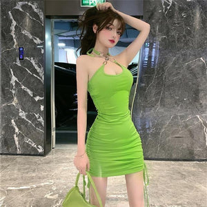 Summer sexy strapless back dress 2020 new fashion mini party high waist sleeveless sexy dress - SaturnLoop Shops Sales