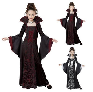 Cosplay New Halloween Costume For Kids Girls Vampire Costume girl red black medieval dress costume Child kids costume For Party - SaturnLoop Shops Sales