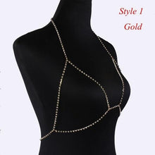 Load image into Gallery viewer, Crystal Rhinestone Bra Chest Body Chain Sexy 2020 Women Shiny Bikini Jewelry Leg Chains For Summer Beach Dress body jewelry - SaturnLoop Shops Sales