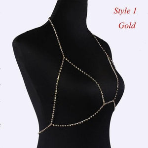 Crystal Rhinestone Bra Chest Body Chain Sexy 2020 Women Shiny Bikini Jewelry Leg Chains For Summer Beach Dress body jewelry - SaturnLoop Shops Sales