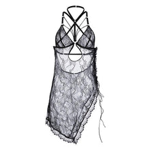 Load image into Gallery viewer, New 2020 lace-up side-opening lace see-through halter sexy sling nightdress sexy lingerie women one size black - SaturnLoop Shops Sales