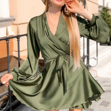 Load image into Gallery viewer, Women Sexy V-neck Satin Mini Dress A Line Sashes Autumn Spring Party Dress Lantern Sleeve Vintage Elegant Trendy Women Dress - SaturnLoop Shops Sales