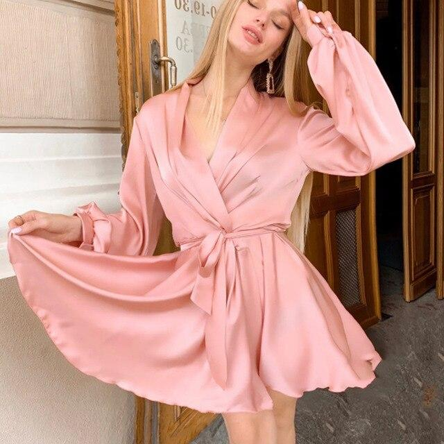 Women Sexy V-neck Satin Mini Dress A Line Sashes Autumn Spring Party Dress Lantern Sleeve Vintage Elegant Trendy Women Dress - SaturnLoop Shops Sales