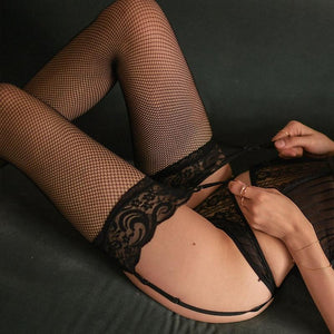 Sexy high quality fishnet stockings lace wide side long tube over the knee stockings bodysuit matching garter stockings - SaturnLoop Shops Sales