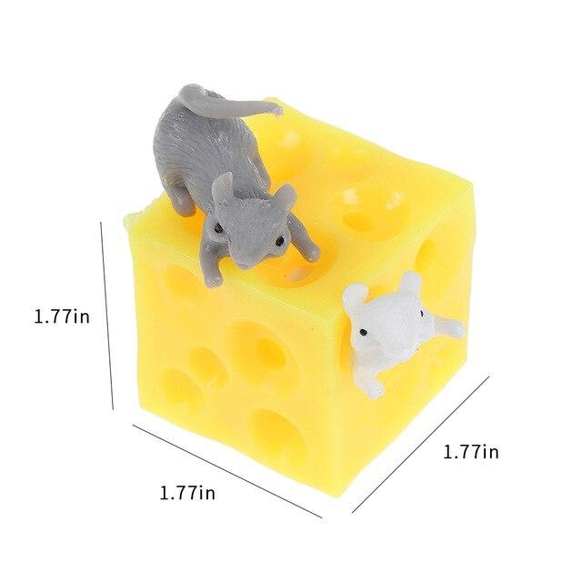 Mouse and Cheese Toy Sloth Hide and Seek Stress Relief Toy 2 Squishable Figures and Cheese Block Stressbusting Fidget Toys - SaturnLoop Shops Sales