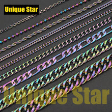 Load image into Gallery viewer, Unique Star Steel Rainbow Plated Basic Necklace Chain Wholesale 100% Stainless Steel Foxtail Figaro Rope Hip Hop Necklaces Chain - SaturnLoop Shops Sales