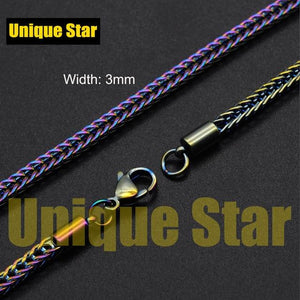 Unique Star Steel Rainbow Plated Basic Necklace Chain Wholesale 100% Stainless Steel Foxtail Figaro Rope Hip Hop Necklaces Chain - SaturnLoop Shops Sales