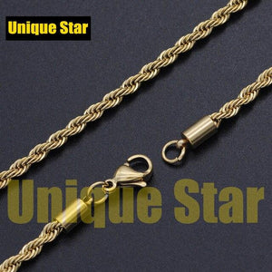 Unique Star 3mm 100% Stainless Steel Rose Gold Rainbow Plated Rope Chain Necklace Men Wholesale Diy Jewelry Making Basic Chains - SaturnLoop Shops Sales