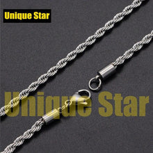 Load image into Gallery viewer, Unique Star 3mm 100% Stainless Steel Rose Gold Rainbow Plated Rope Chain Necklace Men Wholesale Diy Jewelry Making Basic Chains - SaturnLoop Shops Sales