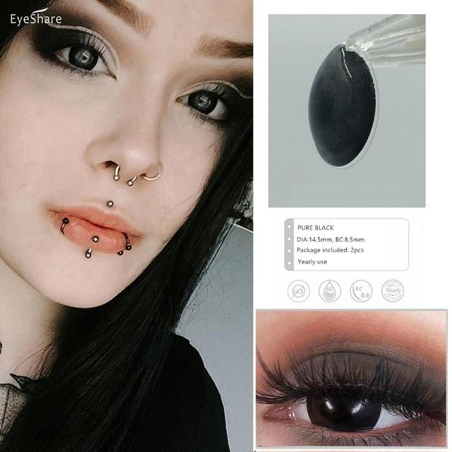 EYESHARE 2pcs/Pair Pure Color Halloween Cosplay Colored Contact Lens Cosmetic Contact Lenses Eye Color Colored Contacts - SaturnLoop Shops Sales