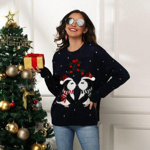 Women Casual Christmas Pullovers Sweater 2020 New Autumn Winter Penguin Printed Holiday Party Women Warm Knitted Sweater Tops - SaturnLoop Shops Sales