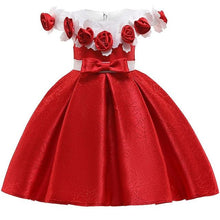Load image into Gallery viewer, New Style Girl Wedding Party One-character Shoulder Suspender Dress Girl Bow Nail Pearl Flower Banquet Ball Dress vestidos - SaturnLoop Shops Sales